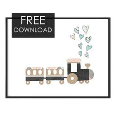 Freebie Nursery hand drawn train,F-11