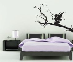 large vinyl wall art, sticker, decal, FAIRY sitting on a tree branch, fairytale, 1450 (w)mm x 1000(h)mm on Etsy, $30.42 AUD