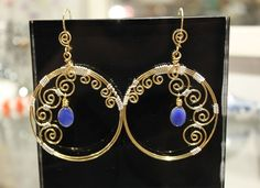 Big Round Hoop Blue Agate Gems Earrings Golden by specialCANmade