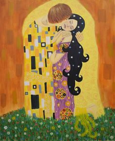 Gustav Klimt inspired art - The Kiss reinterpretation