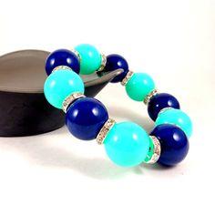 Statement Bracelet, Chunky Bracelet, Stacking Bracelet, Turquoise, Navy, Beaded, Round Bead Bracelet, Big Bracelet, Stretch Bracelet by Pilboxx on Etsy