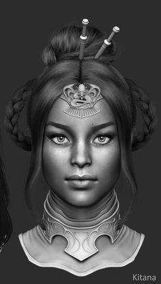 Mortal Kombat X - Princess Kitana, Solomon Gaitan on ArtStation at https://www.artstation.com/artwork/mortal-kombat-x-princess-kitana-sculpt