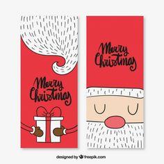 Simpáticas tarjetas de navidad de santa claus Vector Premium