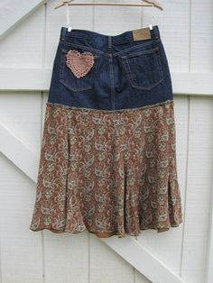 Boho cowgirl skirt Prairie skirt denim heart patch by ShabyVintage
