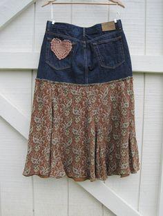 Boho cowgirl skirt Prairie skirt denim heart patch by ShabyVintage