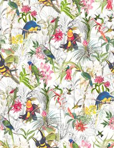 Estampa Cerrado - Inverno 14, pattern, art, birds, flowers, print,