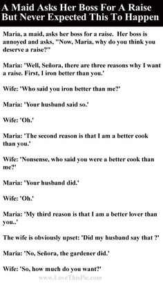 A Maid Asks Her Boss For A Raise But Never Expected This To Happen funny jokes story lol funny quote funny quotes funny sayings joke hilarious humor stories funny jokes adult jokes