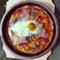 Pizza with eggs. Perfect for dinner with your family