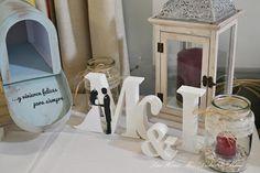 Iniciales decorativas para mesa de recuerdos boda. Wedding decorative letters