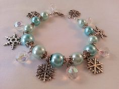 Beautiful Pearl Snowflake Bracelet Winter by TrinkedOut on Etsy