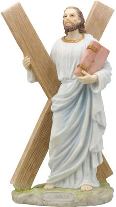 Saint  Andrew The Apostle With The Cross  Religious Figurine Statue Sculpture-Home Décor-Decorations-Christian Related Gifts-Available for Sale at AllSculptures.com