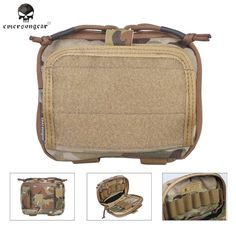 Emerson ADMIN Multi-purpose Map Bag Emersongear Tactical Pouch Military Army MOLLE Combat Gear Bag Genuine Multi-cam AOR
