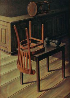 "Kik Zeiler (Surabaya, b. - ""De laatste klant"" (The last customer), 2008 - Oil on canvas Magic Realism, Bird Perch, Interior Architecture, Dining Chairs, Art Gallery, Fine Art, Art Interiors, Furniture, Surabaya"