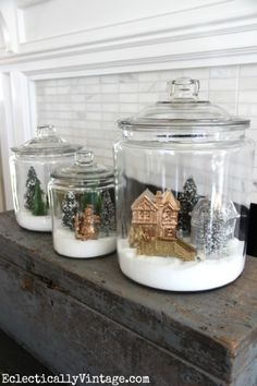 It's a winter wonderland in a jar. See how to make fun winter village snow globe jars that stand out. Perfect for holiday decorating.