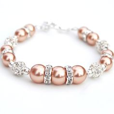 Rose Gold Pearl Rhinestone Bracelet Bridesmaid by AMIdesigns, $24.00