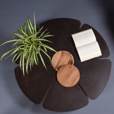 """Modern Coffee Table. Table for indoor and outdoor cafe in cor-ten steel with the central part and the feet in the 300 year-old chestnut wood.  l.  It is delivered in a reinforced and padded wooden box with soft materials that provide transportation.   Measurements: 100cm diameter (39.37 """")                        height 20,5cm (8.07 """")                 5 mm thick steel (0.19 """")"""