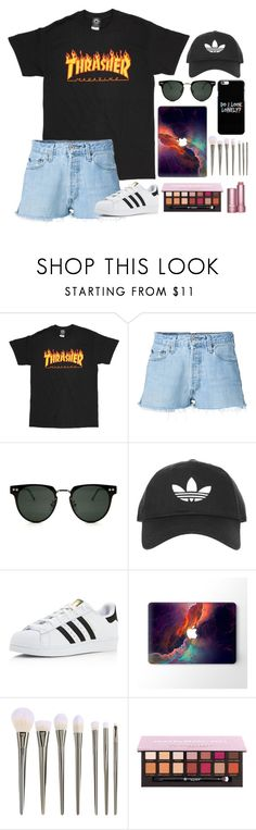 """""""dark clothes, colored mind"""" by trxppy-gxd ❤ liked on Polyvore featuring RE/DONE, Spitfire, Topshop and adidas"""