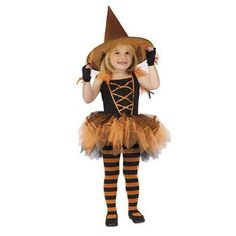 Ballerina Witch Orange Girls Costume - Halloween Costumes