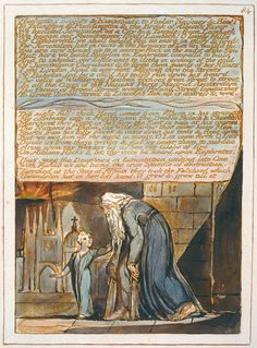 """William Blake: """"Jerusalem The Emanation of The Giant Albion"""", object copy E, c. 1821 (print date). Relief and white-line etching with hand coloring. Yale Center for British Art, New Haven, Connecticut English Poets, William Blake, Romanticism, Jerusalem, Hand Coloring, Great Artists, English Language, Printmaking, Contemporary Art"""
