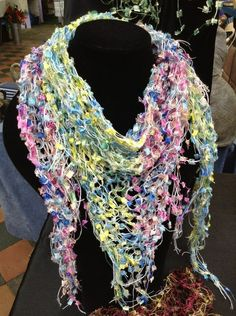 Scarves by Amanda. Beautiful handmade scarves and knitting needles and yarn. Trades every Tuesday and Saturday.