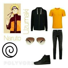 """Naruto Uzumaki in Real Life"" by dreamingallday ❤ liked on Polyvore featuring men's fashion and menswear"