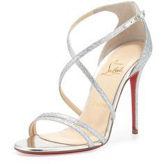 Christian Louboutin Gwynitta Glitter Open-Toed Sandal, Silver found on Polyvore
