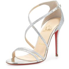 Christian Louboutin Gwynitta Glitter Open-Toed Sandal, Silver ($745) ❤ liked on Polyvore featuring shoes, sandals, heels, sapatos, christian louboutin, silver high heel sandals, strappy high heel sandals, silver metallic sandals, silver strappy sandals and silver sandals