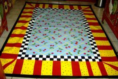 Floorcloth  COUNTRY COTTAGE  hand painted rug to compliment MacKenzie Childs decor 4'x6'. $165.00, via Etsy.
