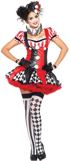 Find sexy Halloween costumes for women, men, and plus-size right here! Shop our selection for the best sexy Halloween costume ideas around! A revealing, sexy costume is sure to make your Halloween or cosplay event a memorable one. Clown Halloween Costumes, Circus Costume, Halloween Masquerade, Mardi Gras Costumes, Halloween Kostüm, Adult Costumes, Costumes For Women, Cosplay Costumes, Circus Clown