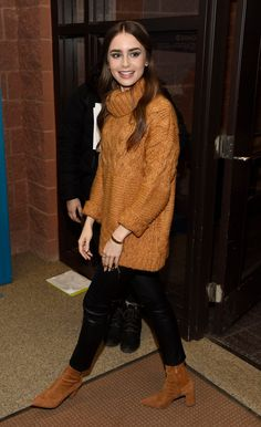Sundance Film Festival - 'Extremely Wicked, Shockingly Evil And Vile' Premiere (January - 042 - Miss Lily Collins - Gallery Oufits Casual, Casual Outfits, Fashion Outfits, Work Outfits, Lily Collins, Over The Knee Boot Outfit, Autumn Clothes, Sundance Film Festival, Fall Winter Outfits