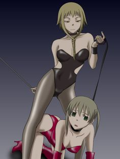 Medusa Gorgon (the girl on top) with Maka Albarn (the girl on the bottom) from Soul Eater in a latex outfit with maka in a BDSM position.  drawn by winbay01