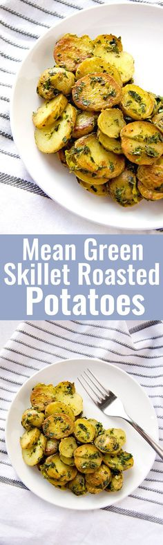 Mean Green Skillet Roasted Potatoes: Quick skillet roasted baby potatoes are tossed in a healthy three green medley to make this simple, easy and absolutely delicious dish! (Vegan & GF)   RECIPE at http://NomingthruLife.com