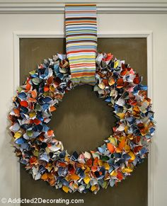 Love this Magazine Wreath  Have done these for years with fabric, never thought of magazine pages.  This is a NEW neat way...