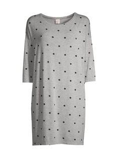 NOOM loungewear - Valentine-yöpaita - GREY MEL/BLACK - photo 1 Short Sleeve Dresses, Dresses With Sleeves, Loungewear, Polka Dot Top, Black, Grey, Tops, Women, Products