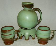 Frankoma Prairie Green Jug Carafe with Stopper and Warming