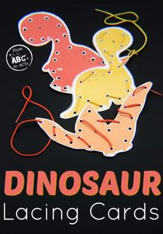 Printable Dinosaur Lacing Cards Work on fine motor skills and explore the world of dinosaurs with these printable dinosaur lacing cards that are perfect for preschoolers! Dinosaur Theme Preschool, Dinosaur Art, Preschool Crafts, Dinosaur Crafts For Preschoolers, Dinosaur Projects, Dinosaur Printables, Preschool Kindergarten, Fine Motor Activities For Kids, Motor Skills Activities