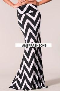 Black White Zig Zag Chevron Print High Waist Foldover Mermaid Maxi Skirt | eBay