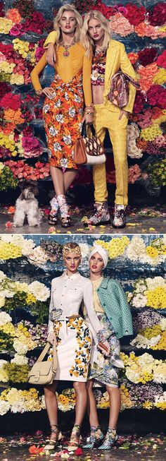 W MAGAZINE BLOOM TOWN GIOVANNA BATTAGLIA SPRING SUMMER FLORAL MIXED PRINTS SKIRTS SOCKS HEELS BOOTS BRIGHTS 50S FIFTIES WANG GINGHAM FLOWERS METALLIC JACKET SILVER PROENZA TROPICAL HAWAIIAN PRINTS BEANIE CITRUS LADY LIKE  1