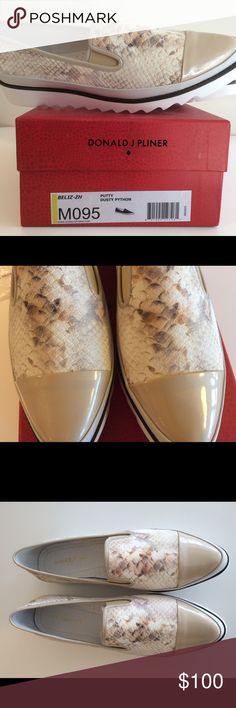 "Donald J Pliner-Genuine Leather loafers ""Belize"" Beige and light brown, Snakeskin texture, white rubber sole, putty/cream colored capped toe, heel height 1.25"", platform: .75"" Donald J. Pliner Shoes Flats & Loafers"