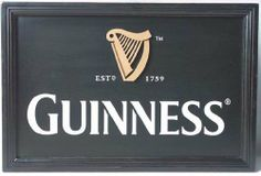 """Guinness Harp Logo wall art  Price : $49.95 This vintage style authentic Guinness wall art is reminiscent of the art decorating the walls of pubs across Ireland.  Measuring 14"""" x 20"""".  Perfect for Father's Day for the mancave!  Ships anywhere! http://www.biddymurphy.com/Guinness-Harp-Logo-wall-art/dp/B004DJDJD4"""