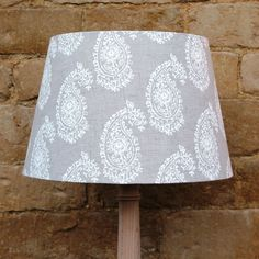 Paisley Beige Linen French Tapered Light Shade, stylish and sophisticated designs www.serendipityhomeinteriors.com