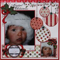 Magical Christmas Page.with scrapbook freebies. Christmas Scrapbook Layouts, Scrapbook Paper Crafts, Christmas Layout, Scrapbook Sketches, Scrapbook Page Layouts, Scrapbooking Freebies, Digital Scrapbooking Layouts, Scrapbook Designs, Baby Scrapbook