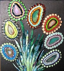 Mosaic flowers...so cute!