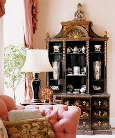 Chinoiserie Chic: Pink and Chinoiserie--I love the color pink for decorating