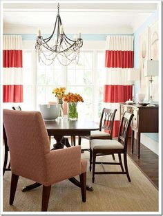 Coral and Winter White Wide Striped Curtains