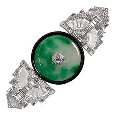 Museum Quality Art Deco Large Faux Jade Crystal Diamond Pin 1