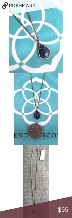 NWT Kendra Scott Cory Necklace in Lapis Wear the starry night around your neck with this beautiful dark blue stone with light gold sparkles all framed in antique brass! Add to your collection or start a new one! Perfect condition, never worn! Kendra Scott Jewelry Necklaces
