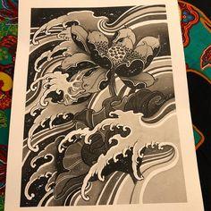 Tattoo of lotus and waves – Irezumi / Japan Tattoo, flower, irezumi, japan tat. Japanese Wave Tattoos, Japanese Flower Tattoo, Japanese Dragon Tattoos, Japanese Tattoo Designs, Irezumi, Japanese Drawings, Japanese Art, Rauch Tattoo, Bonsai Tree Tattoos