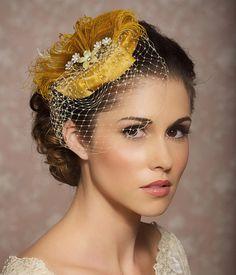 Mustard Yellow Bridal Hat Bridal Head Piece by GildedShadows, $89.00