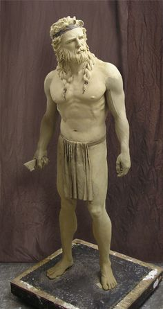 My first version of Samson. This one will always be special to me. He is my first life-size sculpture. He is in bronze now, but the clay is shown here.